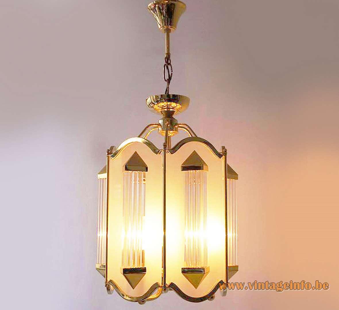 Crystal glass rods lantern pendant lamp gilded brass tubes & chain lampshade Honsel Leuchten Germany