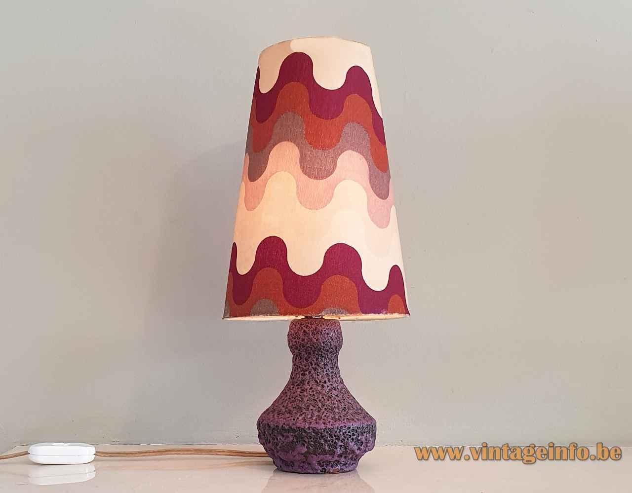 Fat Lava table lamp purple glaze ceramics base conical white & red lampshade 1960s Steuler Keramik Germany