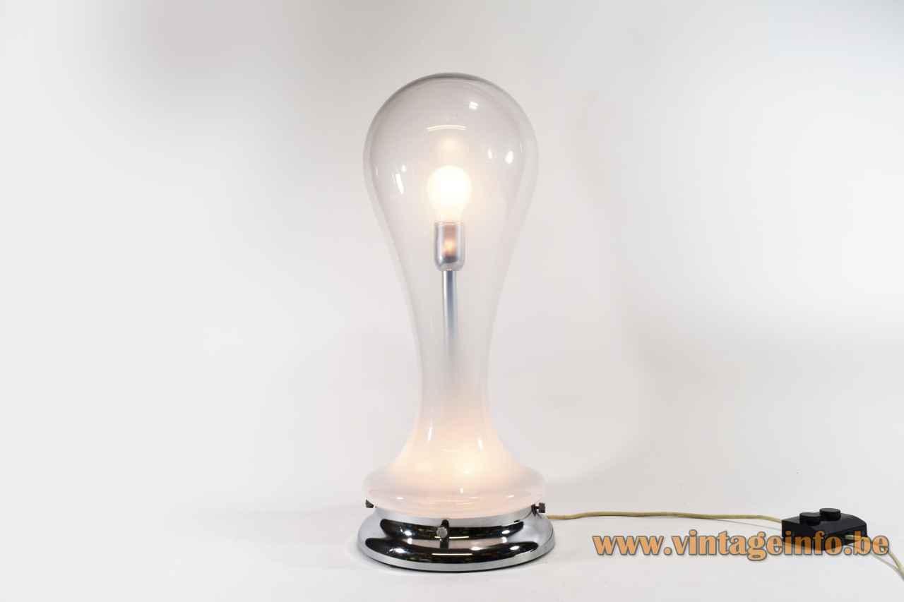 Glass drop table lamp misty white & clear Murano glass cone pin lampshade design: Carlo Nason Mazzega
