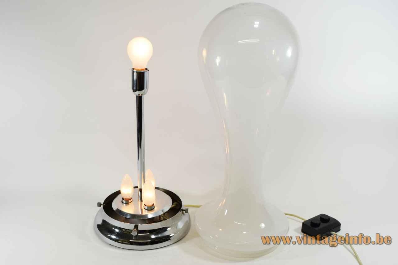 Glass drop table lamp misty white & clear Murano glass lampshade 4 light bulbs AV Mazzega