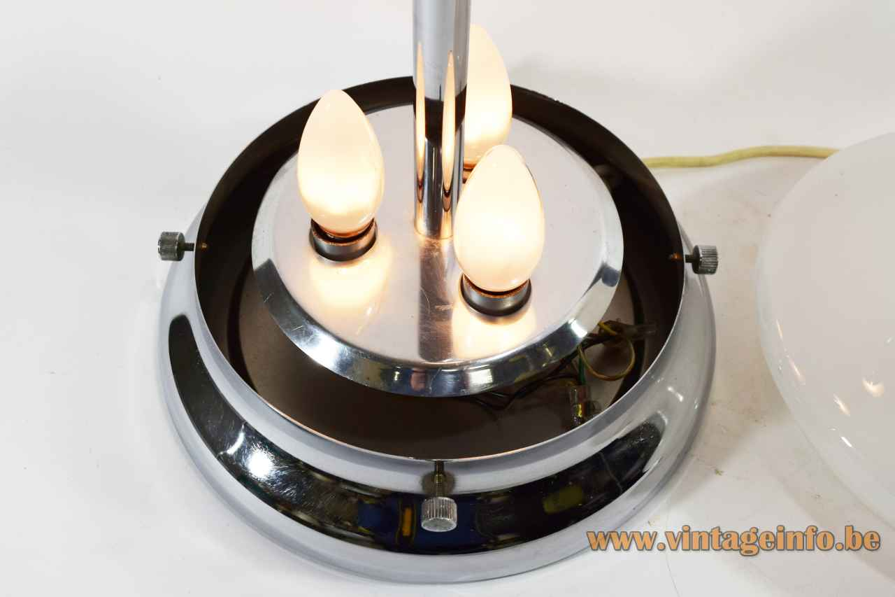 Glass drop table lamp round chrome base lampshade 3 E14 sockets Mazzega 1970s design: Carlo Nason