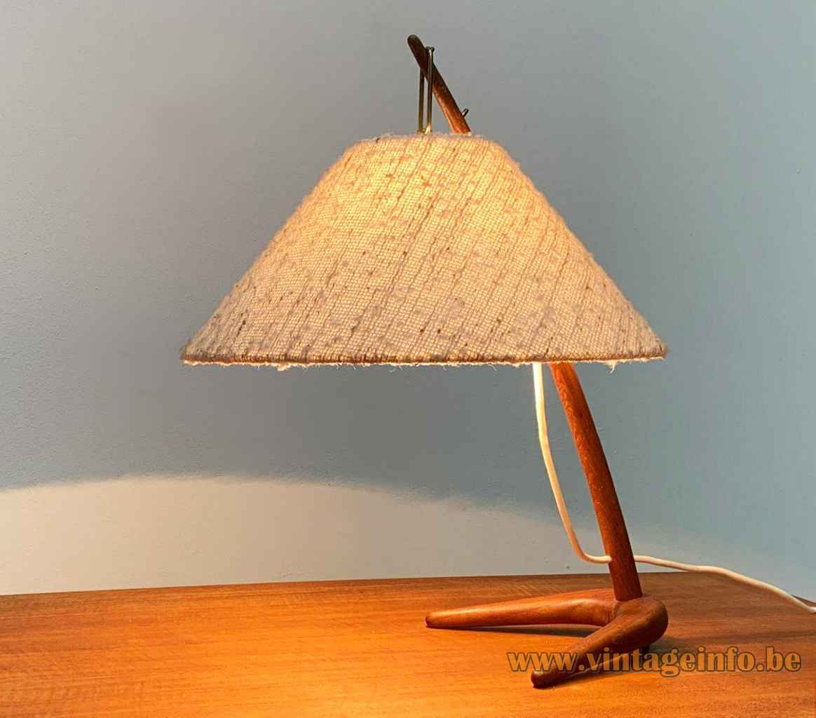 Kalmar Dornstab table lamp crow foot teak base conical fabric lampshade designers Austria 1940s 1950s