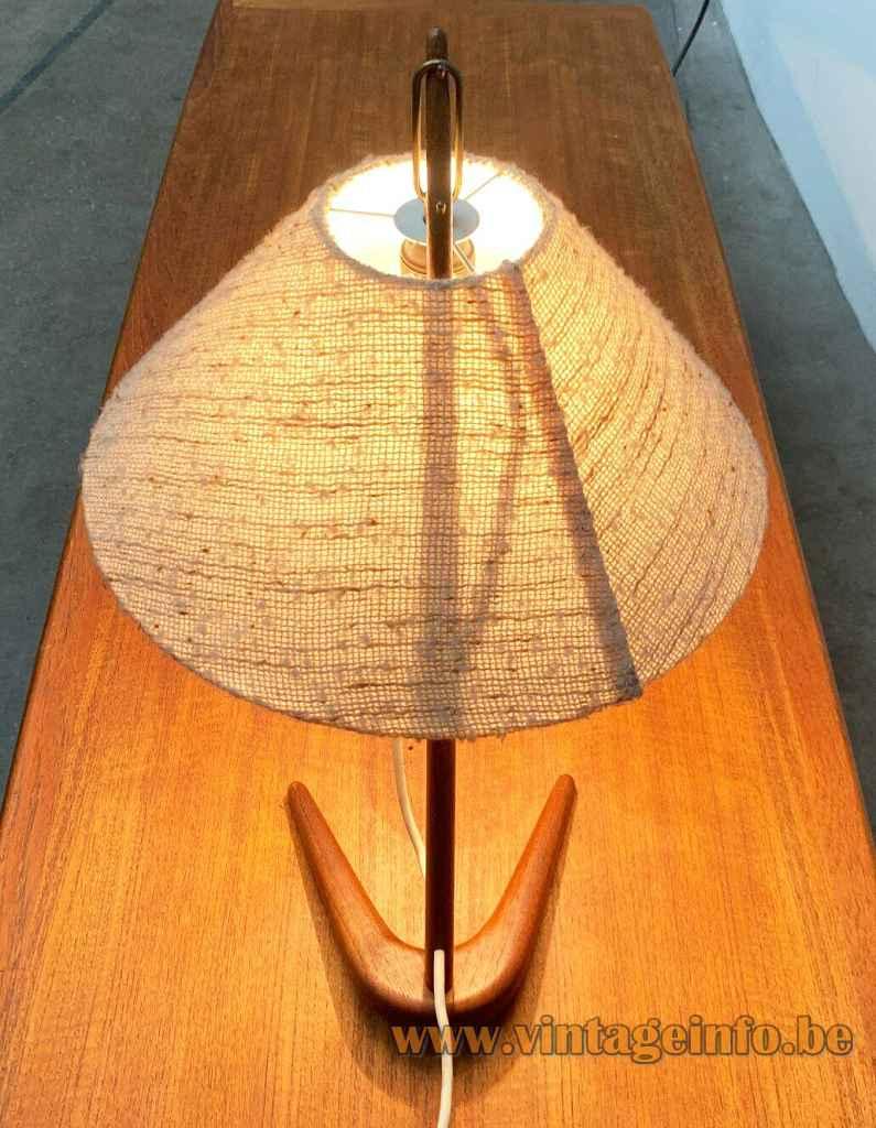 Kalmar Dornstab table lamp crow foot teak base conical fabric lampshade top view Austria 1940s 1950s