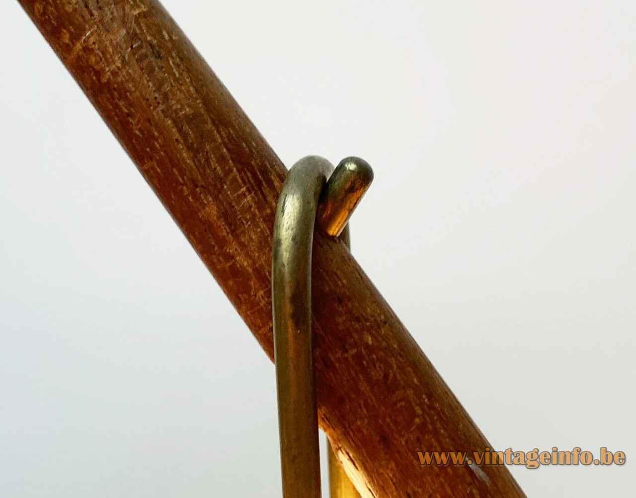 Kalmar Dornstab table lamp brass hook teak rod close up view Austria 1940s 1950s