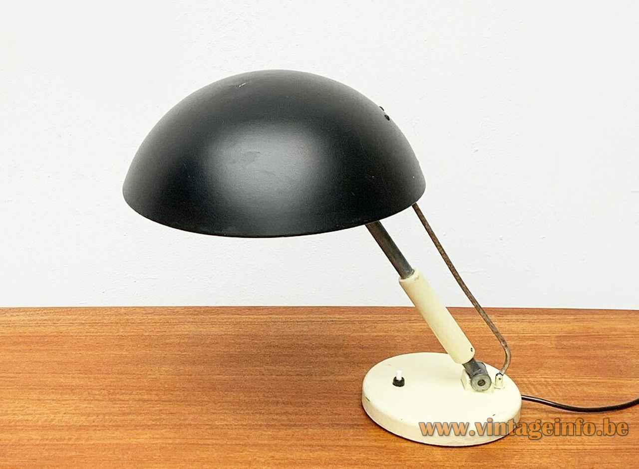 Karl Trabert Schaco desk lamp round metal base adjustable rod & black lampshade Bauhaus 1933 Schanzenbach Germany