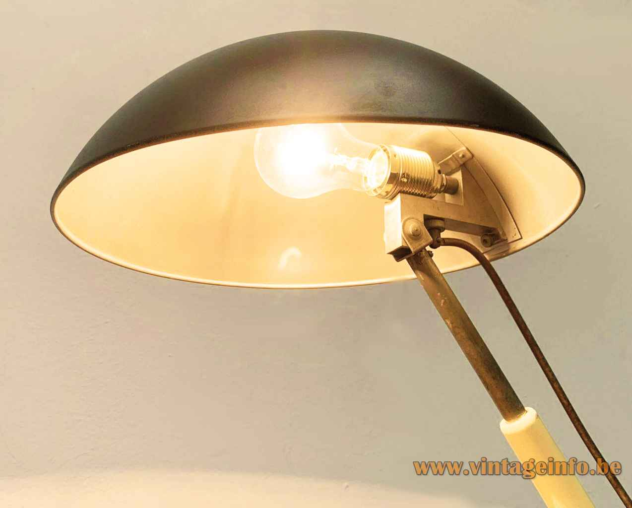 Karl Trabert Schaco desk lamp adjustable rod & black mushroom lampshade Bauhaus 1933 design Schanzenbach Germany