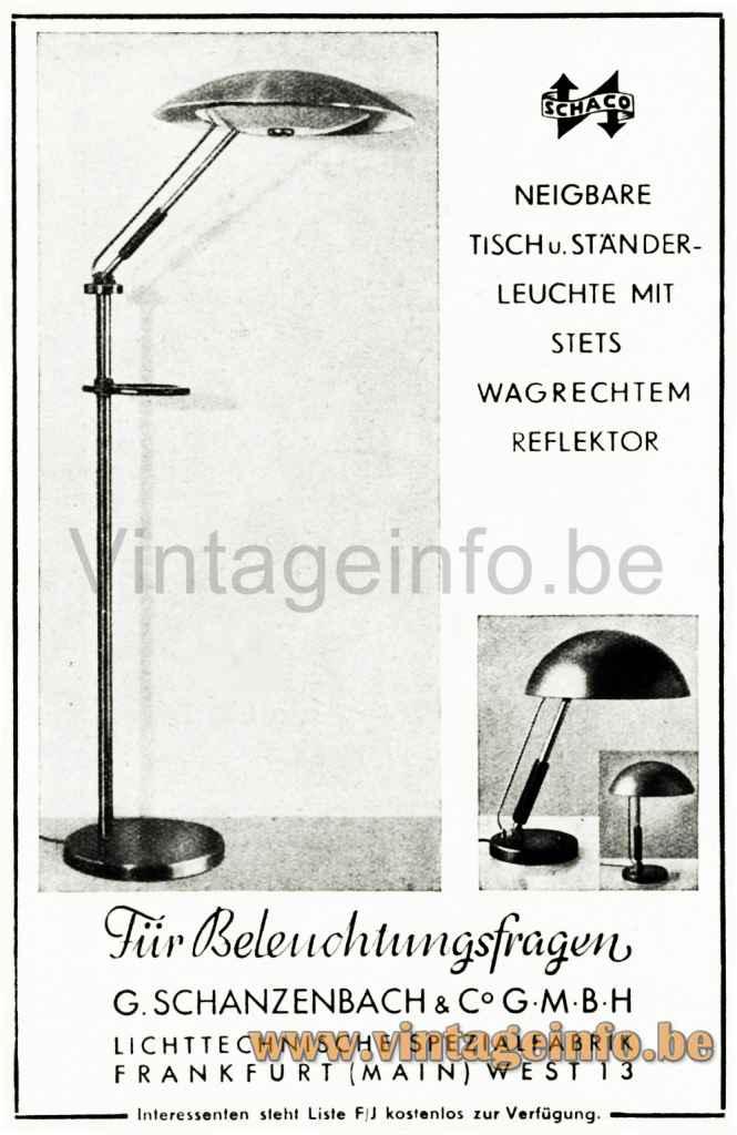 Karl Trabert Schaco Desk Lamp - Schanzenbach & Co., Frankfurt Publicity - Catalogue Photo - 1930s