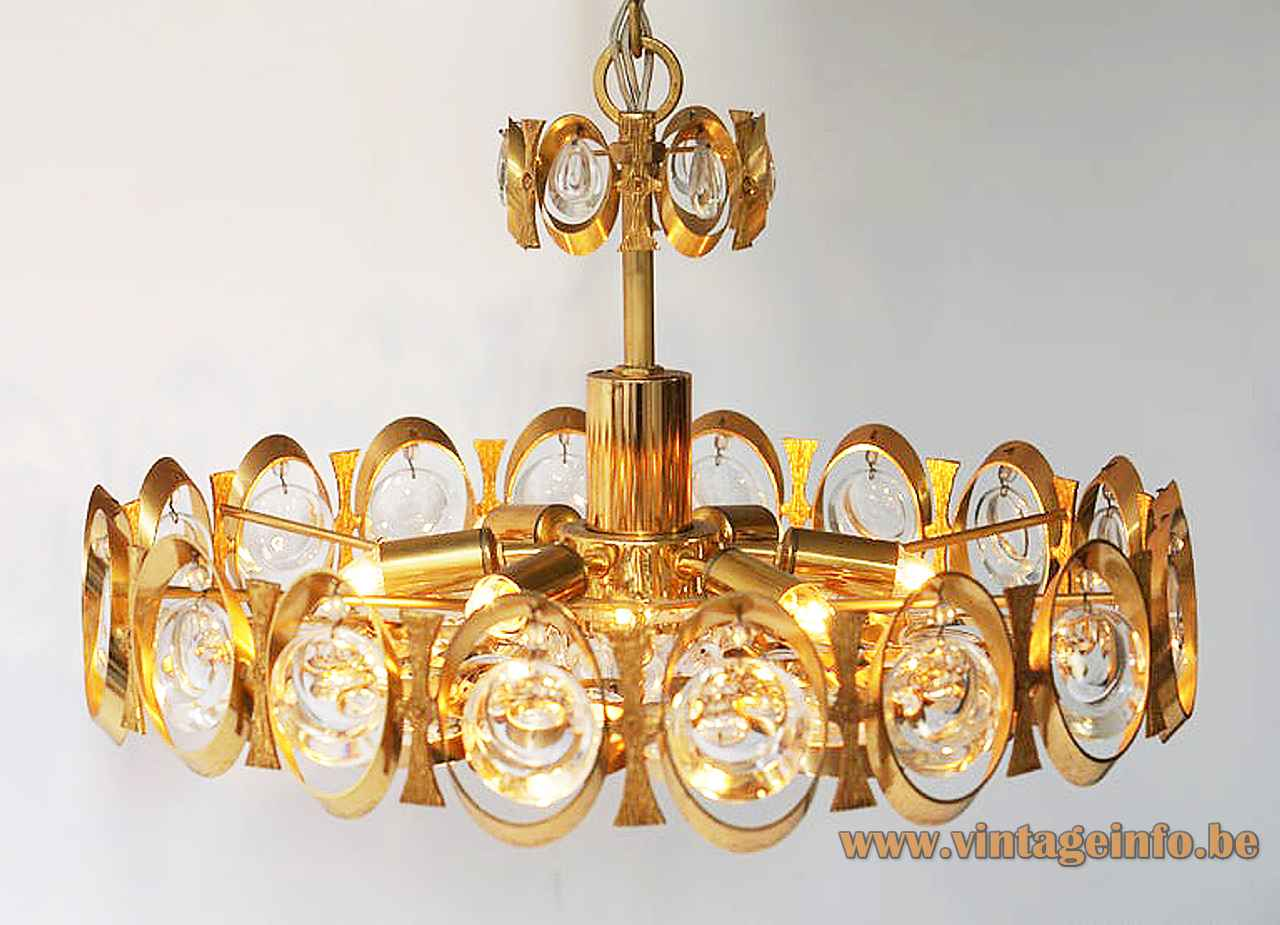 Palwa oval rings chandelier gold plated lampshade crystal glass discs 1970s 1980s Palme & Walter Germany