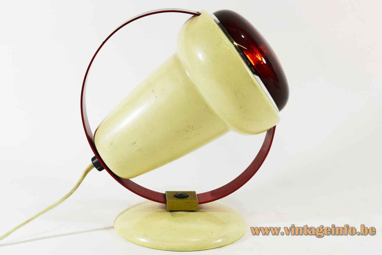 Philips Infraphil 7529 lamp round white plastic base red aluminium ring conical lampshade 1960s Charlotte Perriand