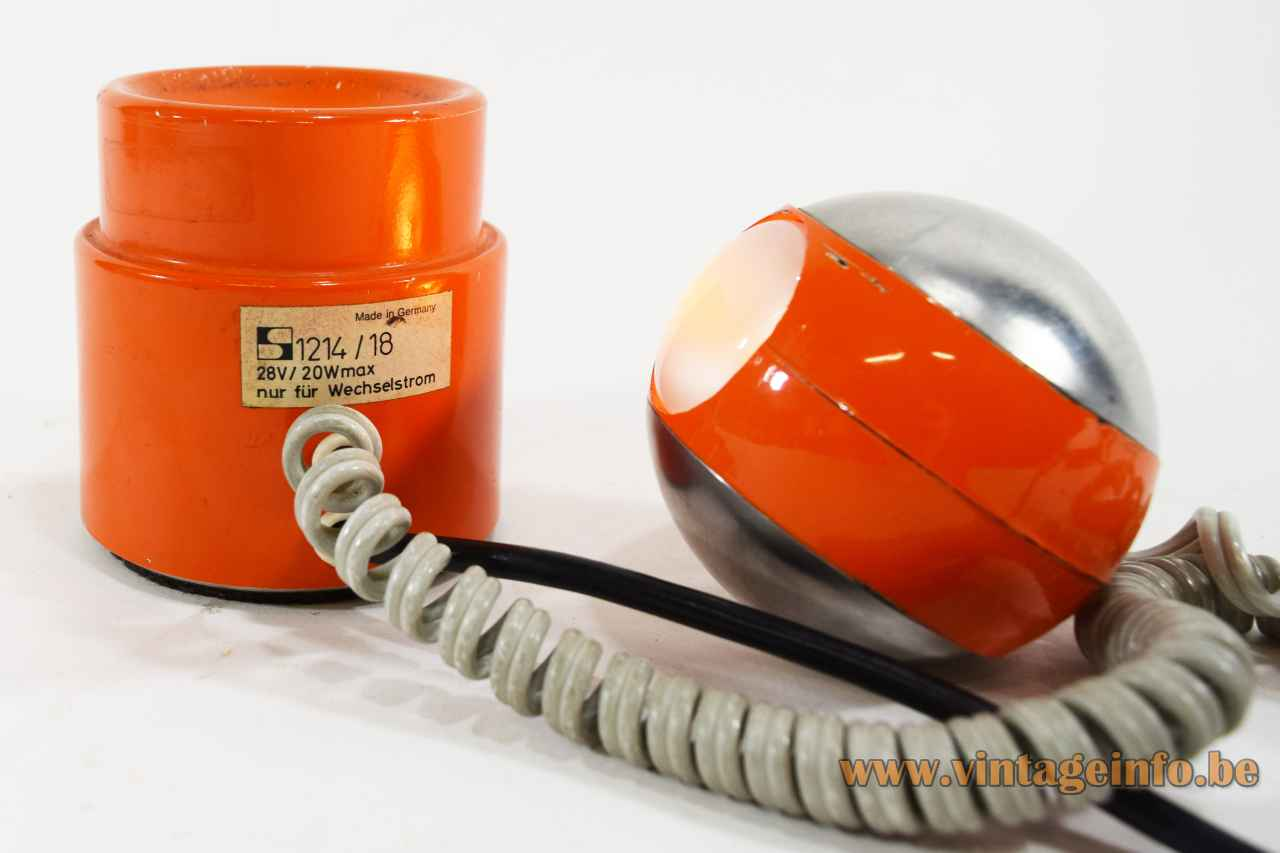 Staff table lamp 1214 round orange metal base glass tube eyeball chrome globe lampshade Germany 1970s