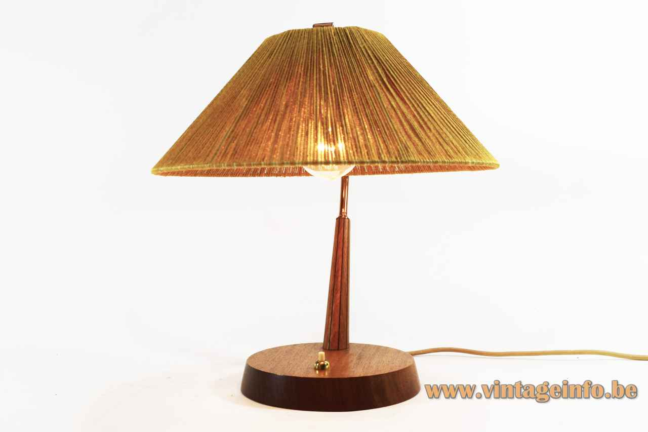 Temde Sisal desk lamp round wood base & rod copper tube conical cord rope lampshade 1950s 1960s