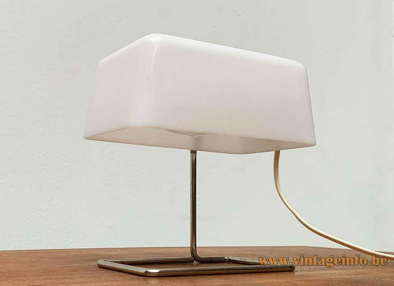 Temde white acrylic desk lamp rectangular chrome rod base white plastic frustum lampshade 1960s 1970s Germany