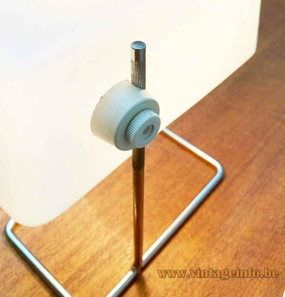 Temde white acrylic desk lamp white plastic frustum lampshade ornamental adjustment screw 1960s 1970s Germany Switzerland