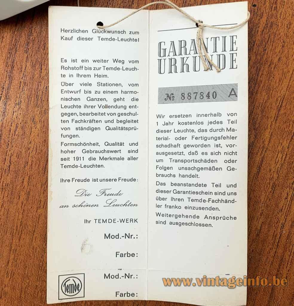 Temde White Acrylic Desk Lamp - Guarantee Card In German - 1960s, 1970s, Germany, Switzerland