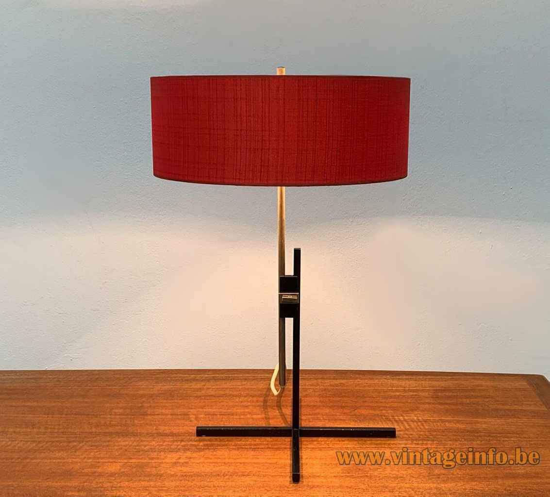 1960s Kaiser Leuchten table lamp black square rods cross base red round fabric lampshade Germany 45094/021