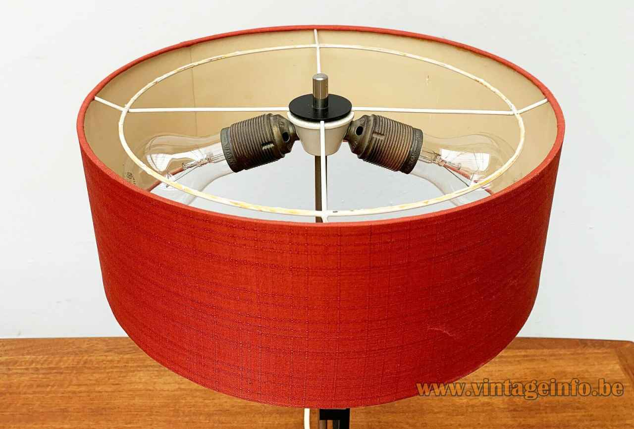 1960s Kaiser Leuchten table lamp black square rods cross base red round fabric lampshade Germany top