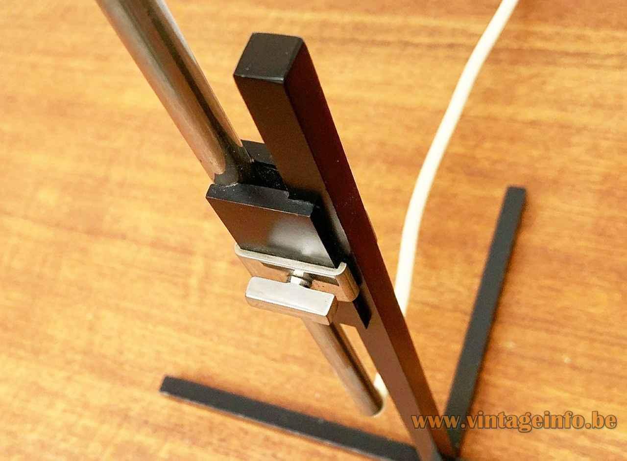 1960s Kaiser Leuchten table lamp black square rods cross base chrome adjustment screw Germany