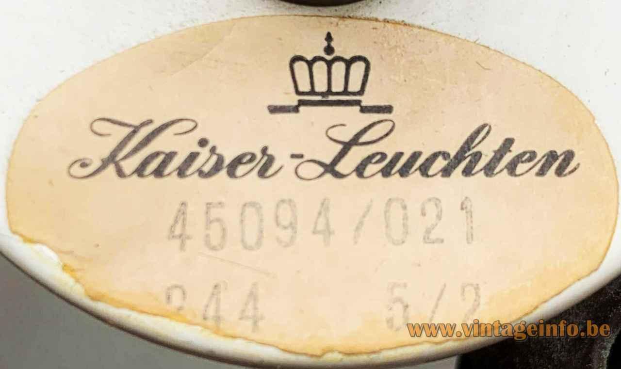 1960s Kaiser Leuchten table lamp Germany label logo model: 45094/021