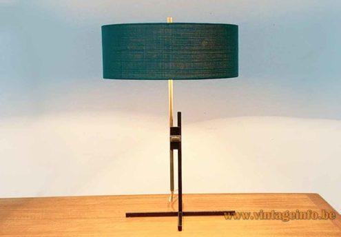 1960s Kaiser Leuchten Table Lamp - Green Fabric Lampshade
