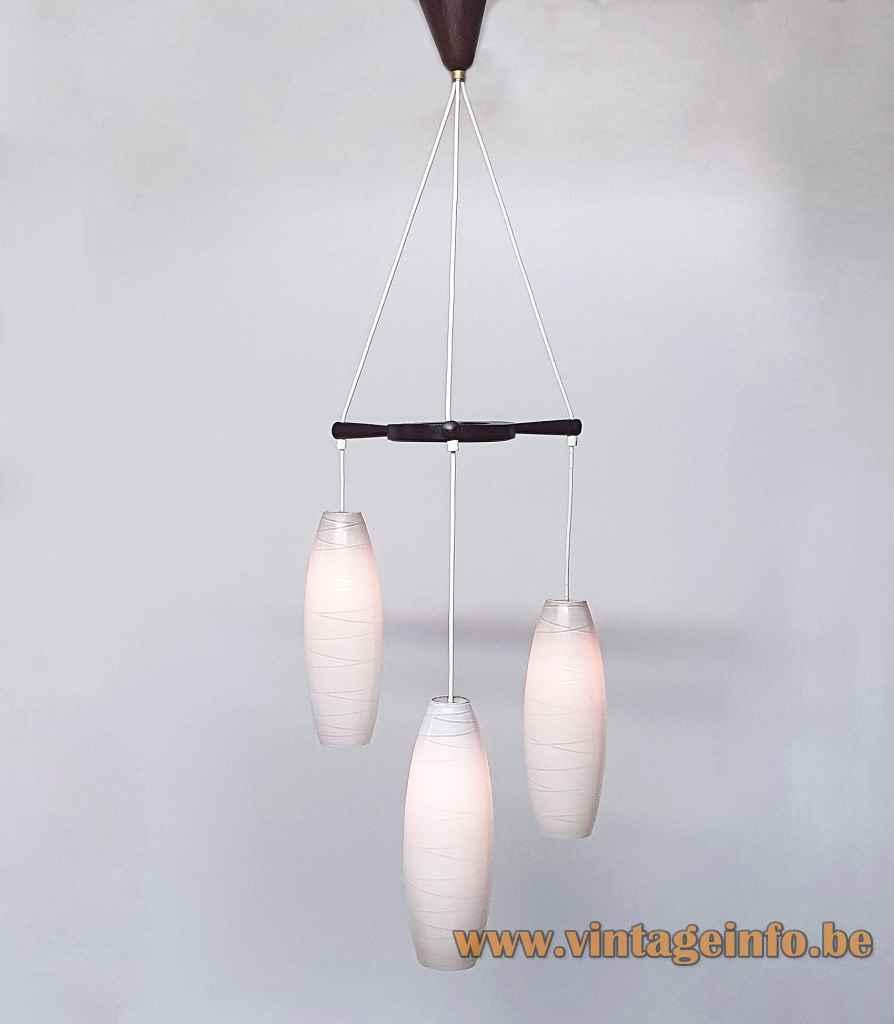 1960s Massive cascade chandelier convex cross striped opal glass lampshades teak wood wheel & canopy Belgium