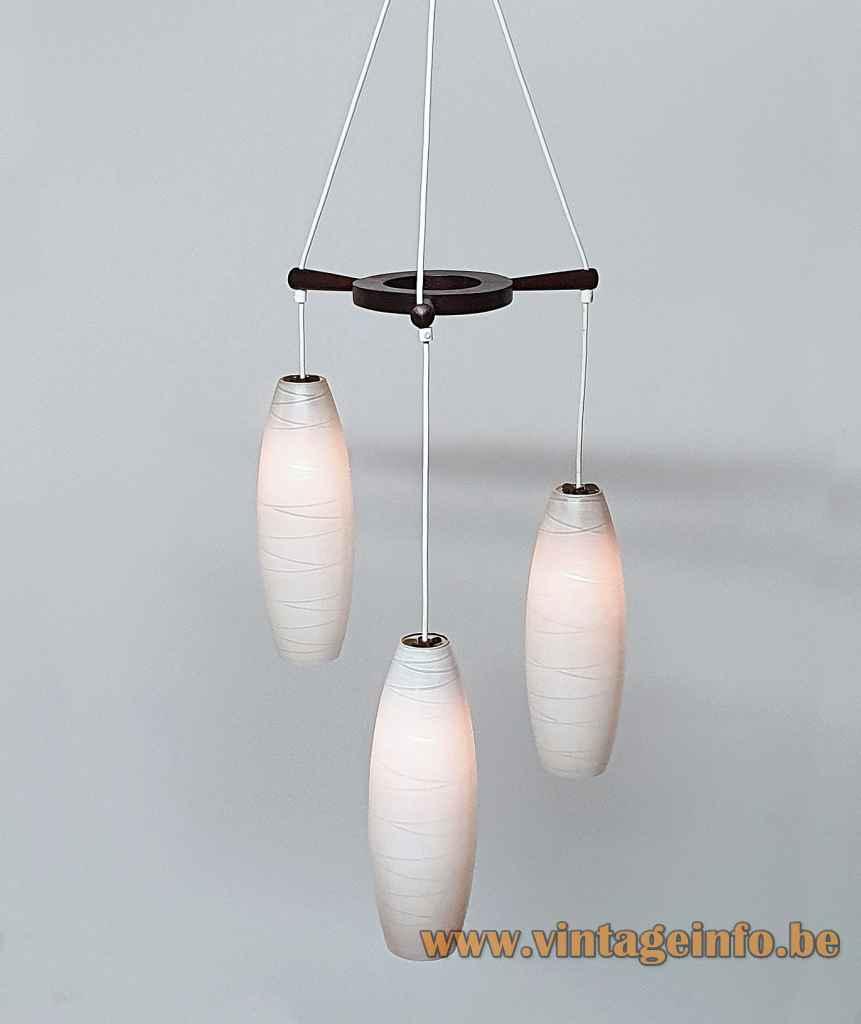 1960s Massive cascade chandelier convex cross striped opal glass lampshades teak wheel Belgium 3 sockets