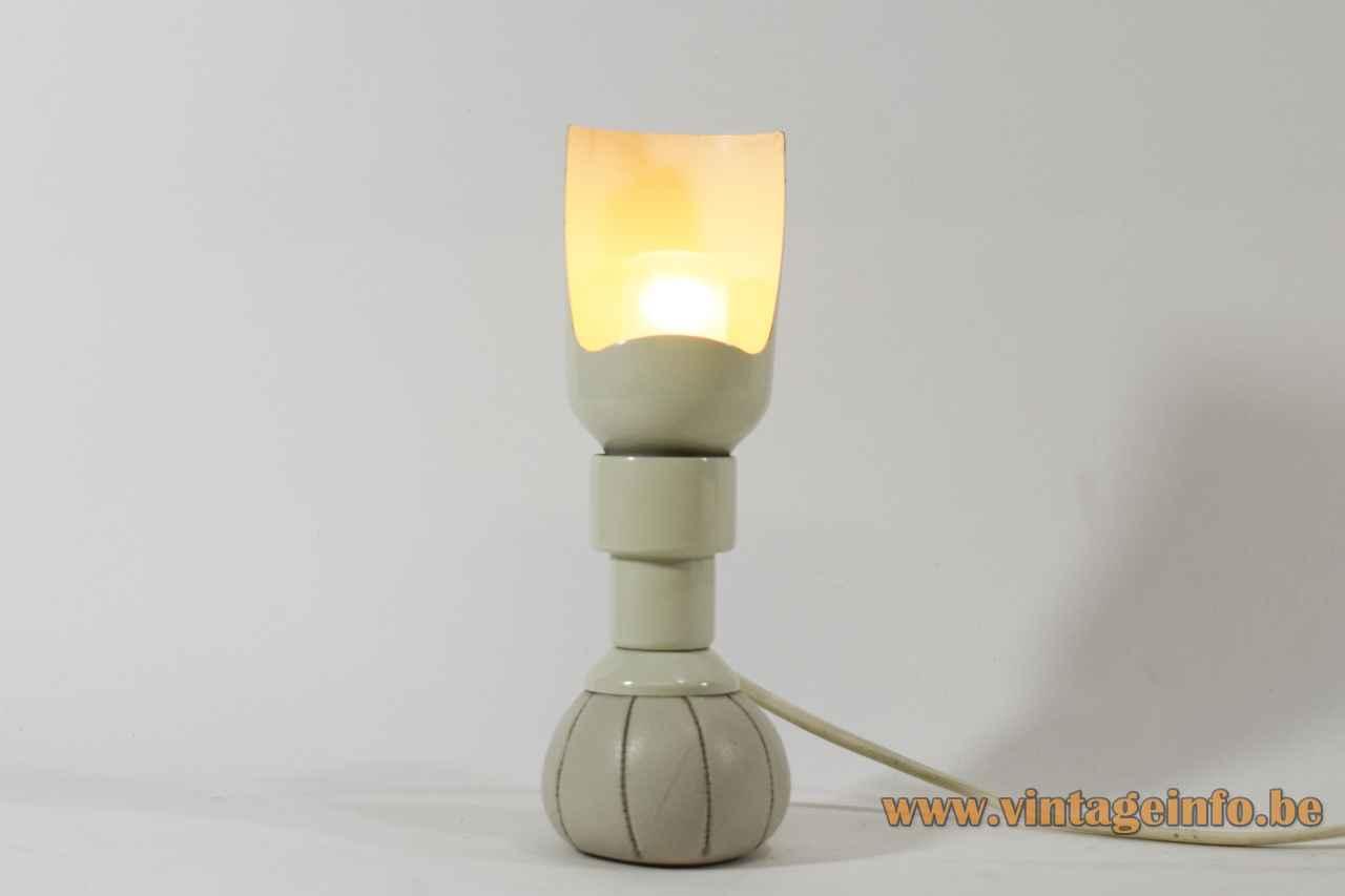 Arteluce table lamp 600 leatherette sack base white tubular lampshade design: Gino Sarfatti Italy 1960s 1970s