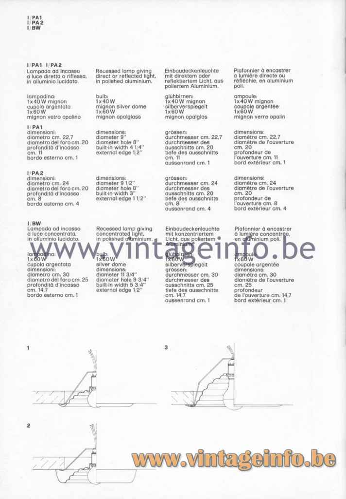 FLOS PA1 PA2 & BW Recessed Ceiling Lamp - 1980 Catalogue Photo