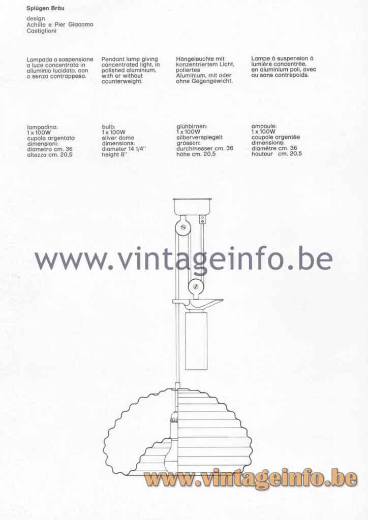 FLOS Splügen Bräu Pendant Lamp - 1980 Catalogue Photo