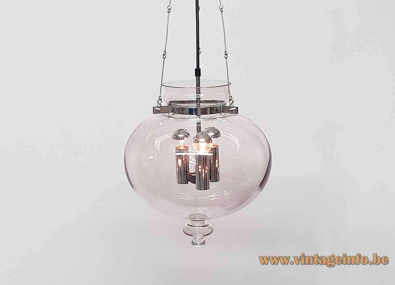 Glashütte Limburg droplet chandelier smoked glass lampshade chrome chain & parts 1970s design: Herbert Proft Germany