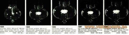 Glashütte Limburg droplet chandelier 1970s catalogue picture models: 1253 1254 1255 1287 & 1288