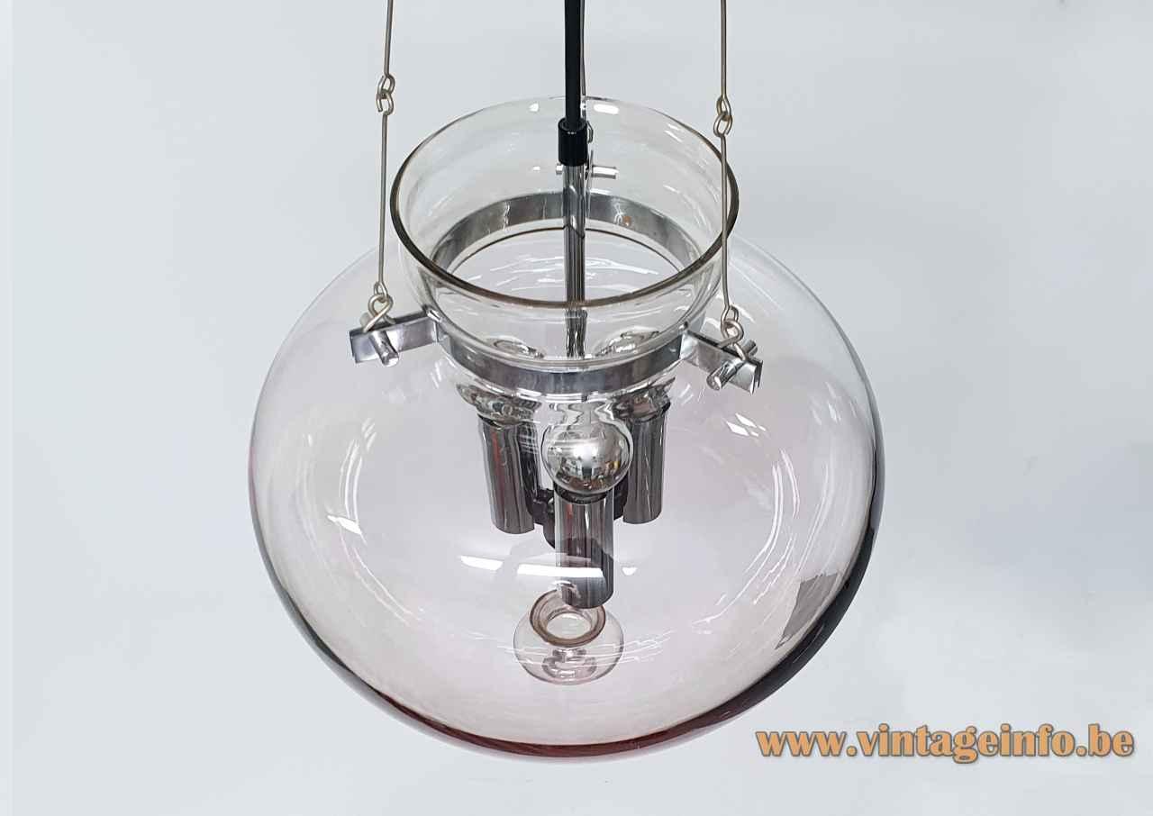 Glashütte Limburg droplet chandelier smoked glass lampshade chrome chain & parts 1970s design: Herbert Proft top view