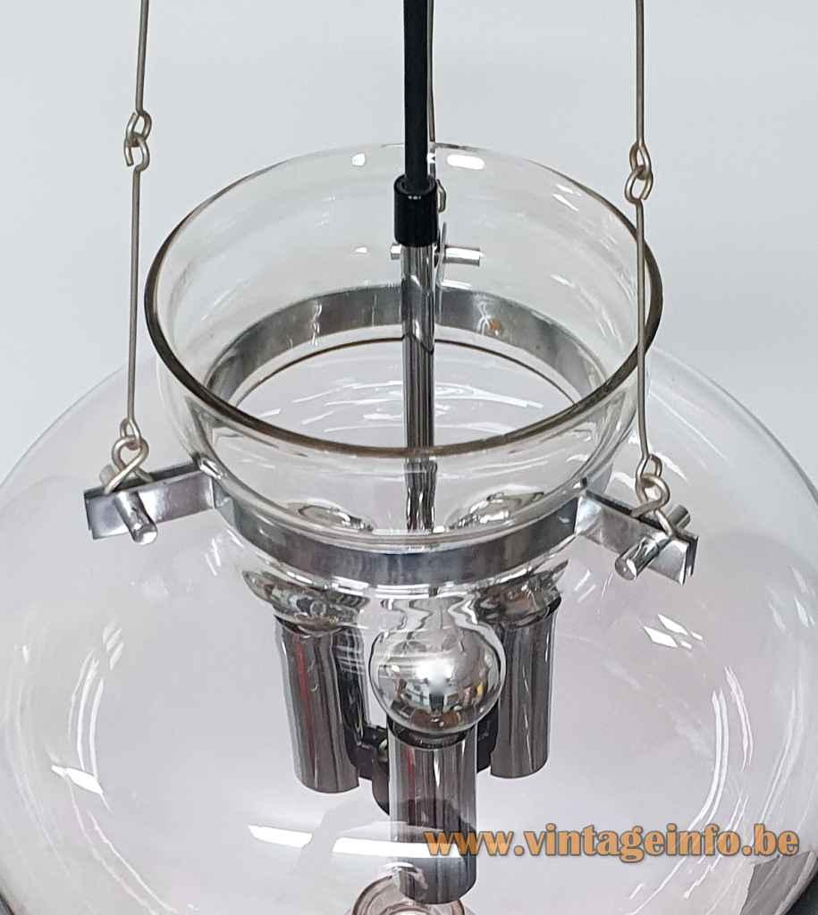 Glashütte Limburg droplet chandelier smoked glass lampshade chrome chain & parts 1970s design: Herbert Proft inside view