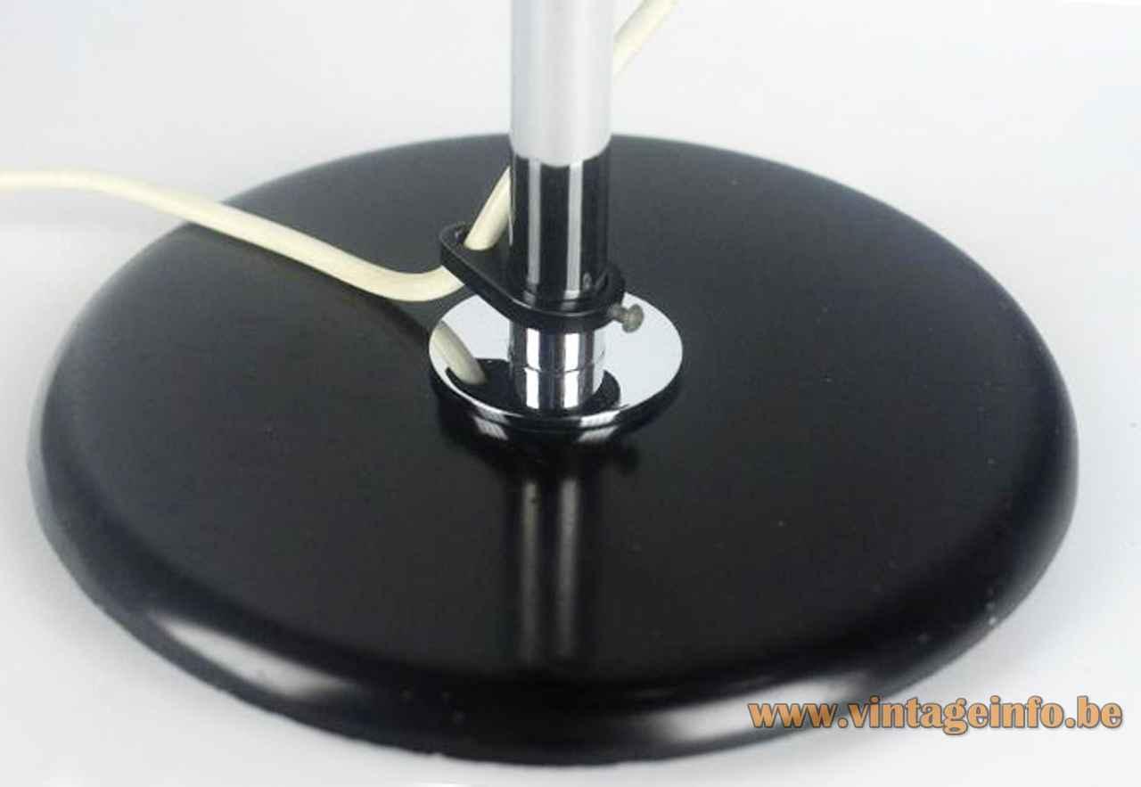 Staff eyeball desk lamp round black metal base chrome rod & ring 1970s design: Arnold Berges Germany