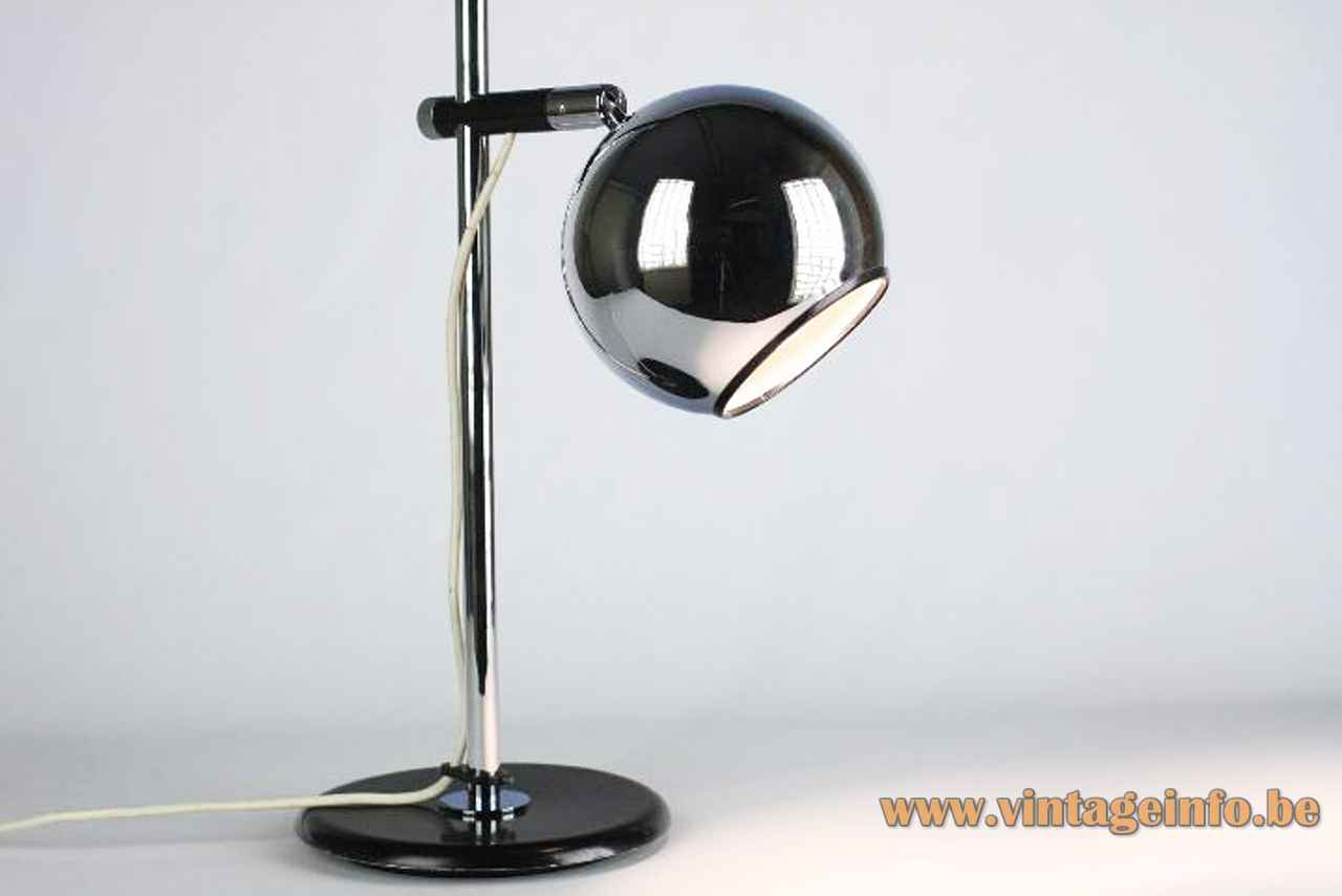Staff eyeball desk lamp round black metal base chrome rod globe lampshade 1970s design: Arnold Berges Germany