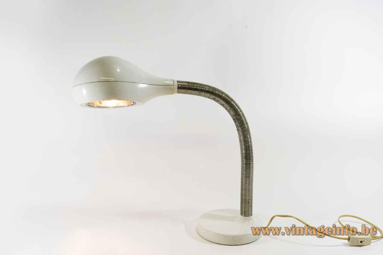 Temde Cobra table lamp round white metal base chrome gooseneck oval lampshade Model 32 Germany 1970s