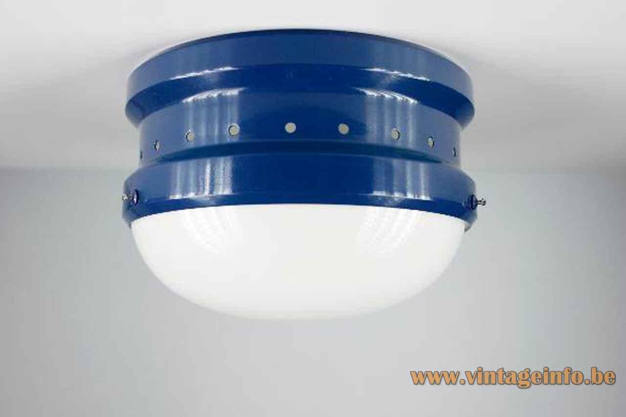 Tramo Kartell flush mount round blue metal base white acrylic lampshade 1960s 1970s Italy Spain