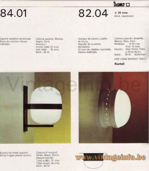 Tramo Kartell Flush Mount - 1960s Design: Gianemilio, Pietro & Anna Bertarini Monti, Italy, Spain - 1970s Tramo Catalogue Picture