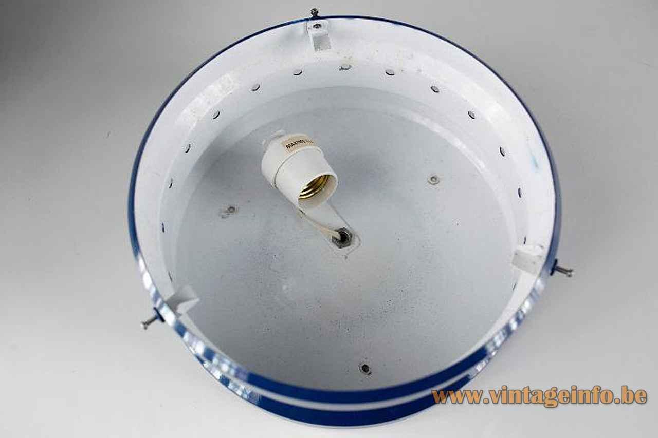 Tramo Kartell flush mount round blue metal base inside 1960s design: Gian Emilio Piero & Anna Monti
