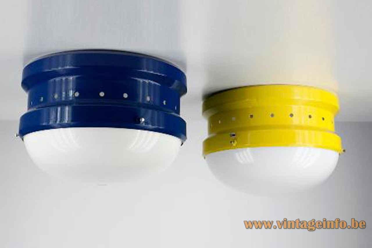 Tramo Kartell flush mount round blue & yellow metal base inside design: Gian Emilio Piero & Anna Monti